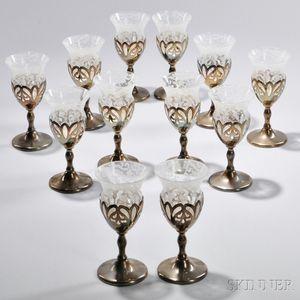 Twelve Sterling Silver-mounted Wineglasses