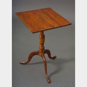 Federal Cherry and Birch Inlaid Tray-top Candlestand