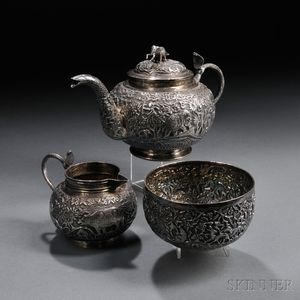 Three-piece Indian Silver Tea Set