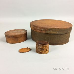 Three Bentwood Finger Lapped-seam Boxes