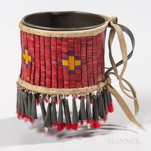 Lakota Quill-Wrapped Tin Cup