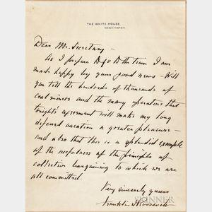 Roosevelt, Franklin Delano (1882-1945) Autograph Letter Signed.