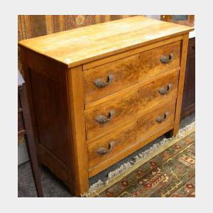 Late Victorian Oak and Burl Veneer Chest of Drawers.