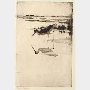 Frank Weston Benson (American, 1862-1951)  Lone Yellowlegs