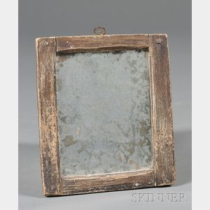 "Brown-painted Pine ""Make-do"" Mirror"