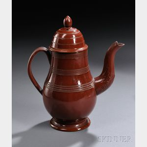 Staffordshire Glazed Redware Coffeepot and Cover