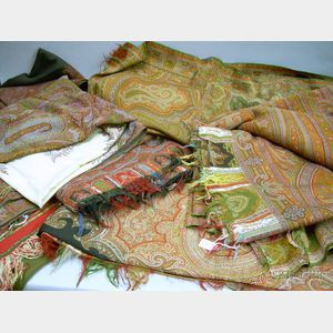 One Striped and Five Paisley Woven Wool Shawls
