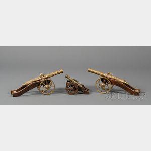 Three Replica Brass Miniature Cannons