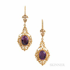 Antique 14kt Gold and Amethyst Earrings
