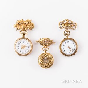 Three Open-face Gold Pendant Watches and Brooches