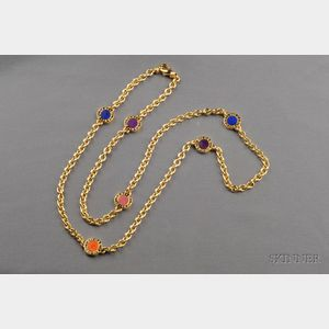 18kt Gold, Coral, and Lapis Necklace, Bulgari
