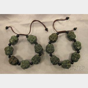 Two Carved Hardstone Bracelets