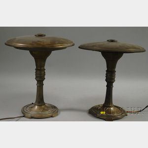 Pair of Art Deco/Industrial Design Metal Table Lamps.