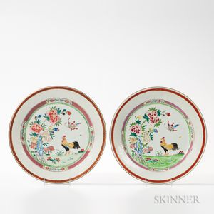 Pair of Famille Rose Rooster Dishes
