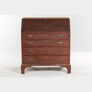 Red-painted Cherry Slant-lid Desk