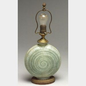 Opalescent Art Glass Snail Table Lamp