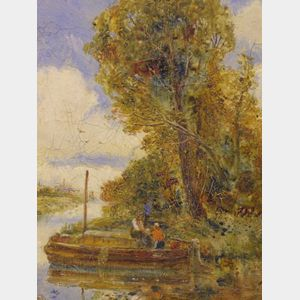 Framed Oil View with a Rowboat