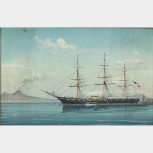 Italian School, 19th Century      American Ship in an Italian Harbor with  a Volcano.