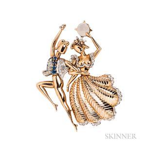 Retro 18kt Gold, Sapphire, and Diamond Figural Clip Brooch