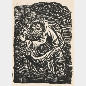 Two Framed Works:       Ernst Barlach (German, 1870-1938), Barmherzinger Samariter   (The Good Samaritan)