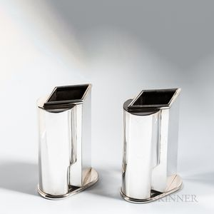Two Jean Puiforcat (French, 1897-1945) Sterling Silver Vases