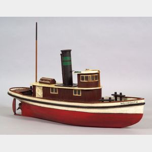 """Painted Wooden Steam Engine Model of the Tugboat """"WEYMOUTH,""""      America, late 19th/early 20th century"""