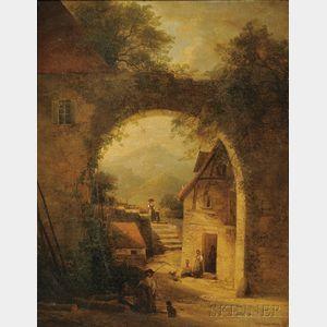 Attributed to Hendrik Barend Koekkoek (Dutch, 1849-1909)      Figures in a European Village with Archway