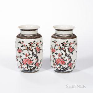 Pair of Enameled Eggshell Vases