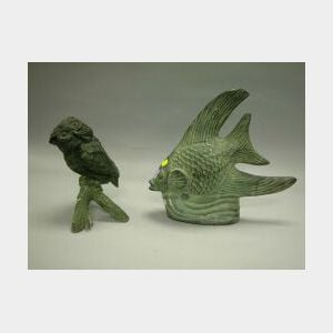 Green Patinated Bronze Owl.