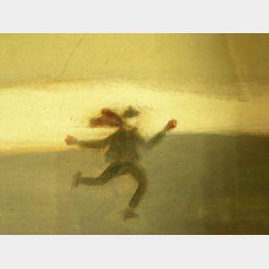 Framed Oil of a Skater