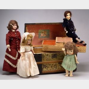 Small Group of Dolls and Trunk of Clothes