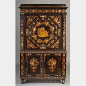 Sold for: $47,000 - Italian Fruitwood Marquetry and Mother-of-pearl Inlaid Ebony Fall-front Desk