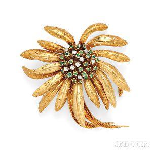 18kt Gold, Emerald, and Diamond Flower Brooch