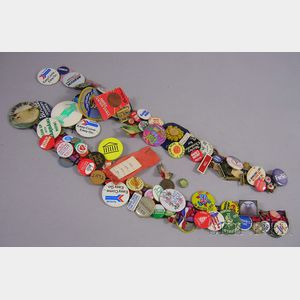 Collection of Mostly 1970s-90 Buttons and Ribbons, Two Spanish Bull Fighting   Posters, and a Spanish Menu Poster