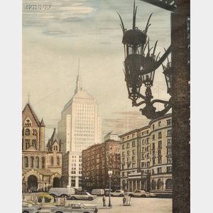 Louis Novak (American, 1903-1983)      Four New England Views:  At Copley Square;   Covered Bridge in Autumn, Peter Faneuil's Dam