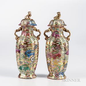 Pair of Enameled and Gilt Covered Vases