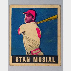 1949 Leaf Gum no. 4 Stan Musial Baseball Card.