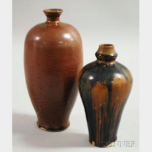 Two Asian Brown and Black Vases