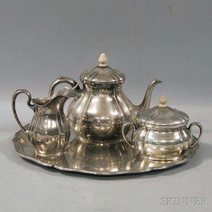 Four-piece M.T. Wetzlar German .800 Silver Tea Service