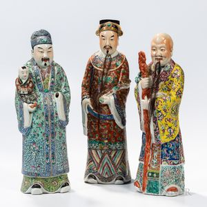 Famille Rose Figures of the Three Star Gods