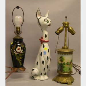 Two Late Victorian Decorated Table Lamps and an Italian Ceramic Cat.