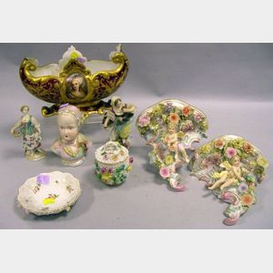 Eight Pieces of Assorted Continental Decorated Porcelain Items