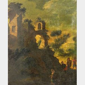 Manner of  Franceso Zuccarelli (Italian, 1701/02-1788)    Pastoral Landscape with Figures and Ruins