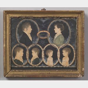 American School, 19th Century    Miniature Portraits of the Patten Family.