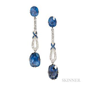 Sapphire Earrings of Art Deco Elements
