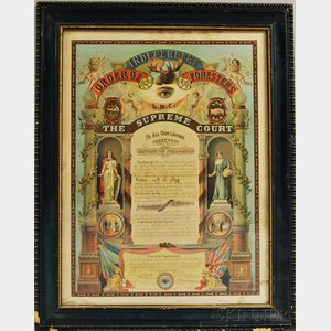 Framed Independent Order of Foresters Colored Lithograph