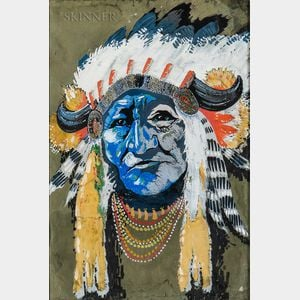 American School, 20th Century      Portrait of a Native American Chief