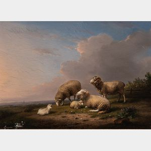 Frans Van Severdonck (Belgian, 1809-1889)      Sheep and Lambs in a Landscape
