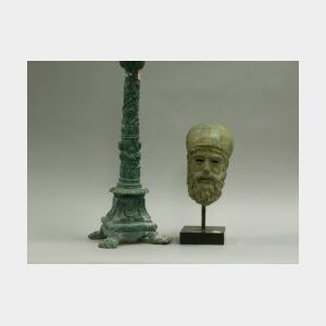 Archaic Bronze Bust and Patinated Bronze Pricket Candlestick.
