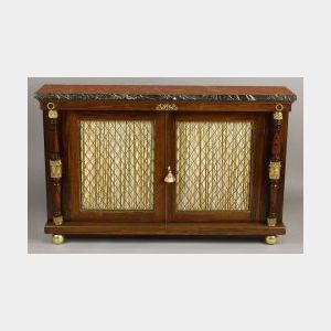 Regency-style Rosewood, Marble-top and Gilt-mounted Library Cabinet